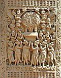 The Bodhisattva preaching in the Tushita Heaven Sanchi Stupa 1 Western Gateway Right pillar Front second panel.jpg