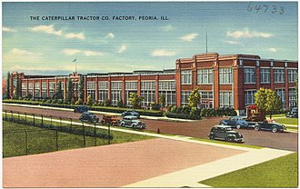 Caterpillar Inc. - A postcard showing the Caterpillar Tractor Co. plant in Peoria, period 1930–1945.