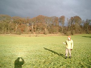 "Centre points of the United Kingdom - ""Centrographers"" at the centre of mainland Great Britain,  in a field near  Whalley, Lancashire  at Grid Ref SD 72321.72 36671.1 (approximately), in December 2005."