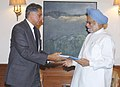 The Chairman of Investment Commission, Shri Ratan Tata presenting a report titled 'Investment Strategy for India' to the Prime Minister, Dr. Manmohan Singh, in New Delhi on March 1, 2006.jpg