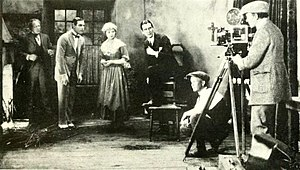 Rex Ingram (director) - Ingram at work with Ralph Lewis, Rudolph Valentino, and his wife, Alice Terry, on the set of The Conquering Power