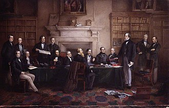 Third Derby–Disraeli ministry - The Derby Cabinet of 1867 as painted by Henry Gales.