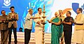 The Governor of Goa, Smt. Mridula Sinha and the Union Minister for Defence, Shri Manohar Parrikar lighting the lamp at the inauguration of the 47th International Film Festival of India (IFFI-2016), in Panaji, Goa.jpg