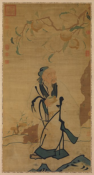 Peaches of Immortality - Silk tapestry of Dongfang Shuo stealing a peach of immortality, Ming dynasty (Metropolitan Museum of Art)