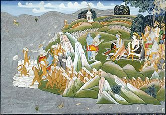 Adam's Bridge - A 19th-century painting depicting a scene from Ramayana, wherein monkeys are shown building a bridge to Lanka.