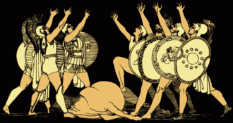 Thebaid (Latin poem) - A depiction of the Seven champions swearing an oath.