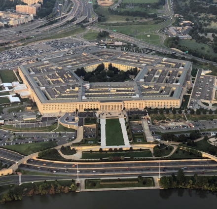 The Department of Defense is headquartered in Arlington at the Pentagon, the world's largest office building. The Pentagon, cropped square.png