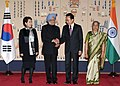 The Prime Minister, Dr. Manmohan Singh and his wife Smt. Gursharan Kaur with the South Korean President, Mr. Lee Myung-bak and his wife Mrs. Kim Yoon-ok, at the ceremonial reception, in Seoul on March 25, 2012.jpg