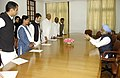 The Prime Minister, Dr. Manmohan Singh with a delegation of MPs led by Shri Rahul Gandhi in New Delhi on February 28, 2008 (1).jpg