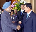 The Prime Minister Dr. Manmohan Singh being received by the Prime Minister of Thailand Mr. Thaksin Shinawatra at the opening ceremony of first BIMST-EC Summit in Bangkok on July 31, 2004.jpg