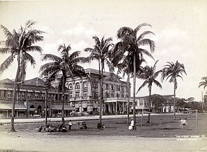 Strand Hotel - The Strand Hotel in 1895, along the banks of the Rangoon River