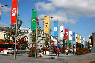 Tribes of Galway - A display of the fourteen tribal flags in Eyre Square, Galway