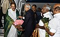 The Vice President, Shri M. Venkaiah Naidu being received by the Governor of Tamil Nadu, Shri Banwarilal Purohit, on his arrival, in Chennai.jpg