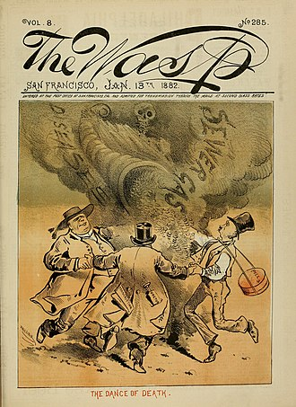 Sewer gas - The cover of an 1882 issue of The Wasp, with an illustration linking sewer gas and disease