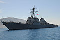 The guided missile destroyer USS Barry (DDG 52) conducts a berth shift at Naval Support Activity Souda Bay, Greece, April 29, 2013, during a scheduled port visit 130429-N-JN142-030.jpg