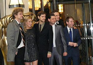 Horrible Histories (2009 TV series) - The starring cast at the 2011 Children's BAFTAs. L-R: Simon Farnaby, Martha Howe-Douglas, Mathew Baynton, Laurence Rickard, Ben Willbond and Jim Howick