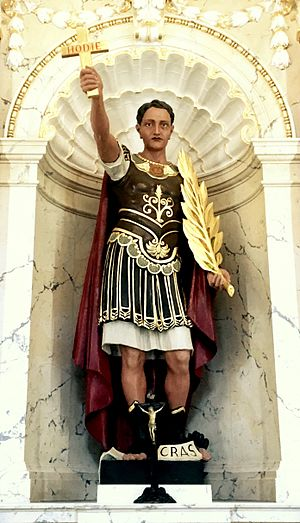 Expeditus - Saint Expeditus with his typical iconographical attributes