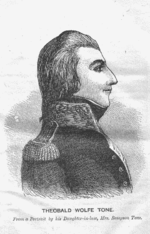 Engraving of a man in profile from the waist up, facing right, dressed in a French naval uniform
