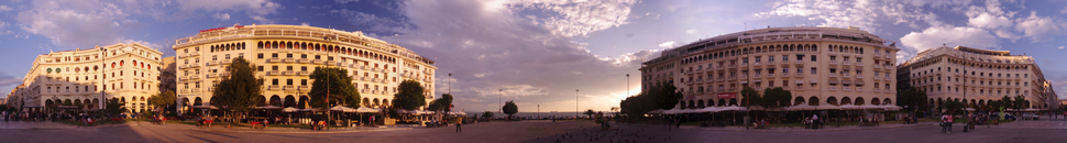 Panoramic view of Aristotelous Square, one of Thessaloniki's most recognizable areas, which was designed by Ernest Hébrard.