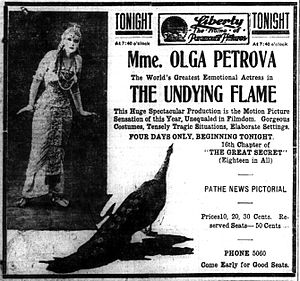 The Undying Flame - Newspaper advertisement.