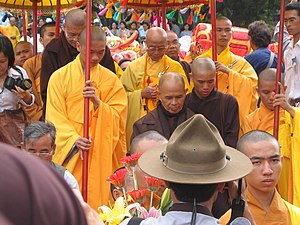 Thich Nhat Hanh in Vietnam during his 2007 trip
