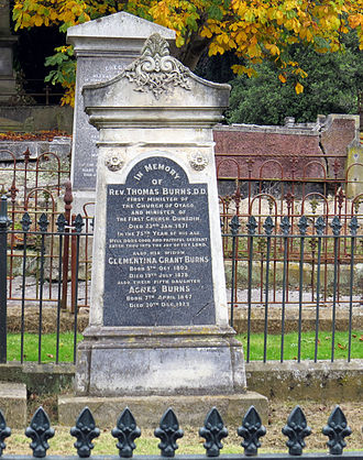 Thomas Burns (minister) - Thomas Burns's tomb in Dunedin Southern Cemetery