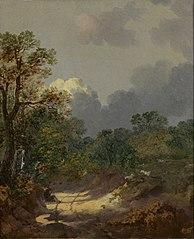Boomachtig landschap met een rustende herder bij een zonnig pad en schapen