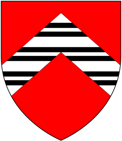 Arms of Throckmorton: Gules, on a chevron argent three bars gemelles sable. Crest: A falcon rising proper belled and jessed or. Mottos: (1): Virtus Sola Nobilitas (Virtue is the only nobility); (2): Moribus Antiquis (With ancient manners) ThrockmortonArms.png