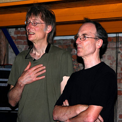 Tim Hodgkinson (left) and Chris Cutler in Schiphorst, Germany, 6 July 2008. TimHodgkinson and ChrisCutler July2008.jpg