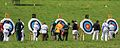Time to score, collecting arrows and scoring at Dunster Archery competition, Somerset, 2009. (3683544091).jpg