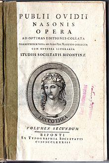 Titelblatt einer Societas-Bipontina-Ausgabe der Werke von Ovid, 1783 (Quelle: Wikimedia)