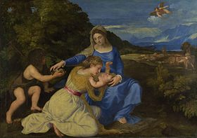 Titian - The Virgin and Child with the Infant Saint John and a Female Saint or Donor ('The Aldobrandini Madonna') - Google Art Project.jpg