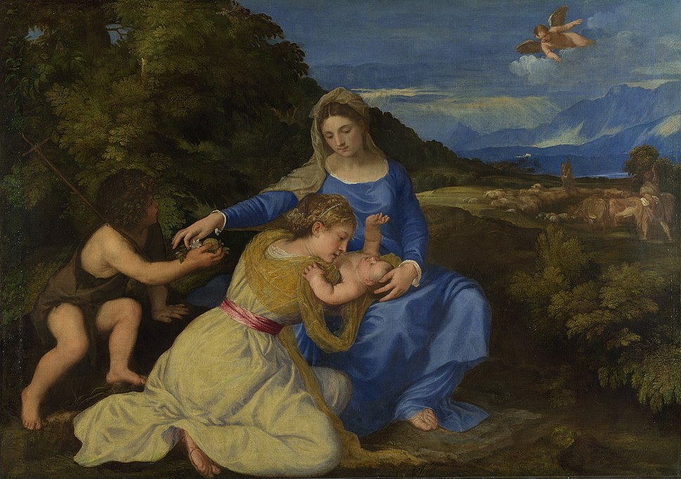 Titian - The Virgin and Child with the Infant Saint John and a Female Saint or Donor ('The Aldobrandini Madonna') - Google Art Project