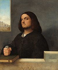 Oil portrait. This portrait shows the upper part of a man, seated behind a ledge in front of a plain wall, with a window to the left. The man is about 30 and has dark shoulder-length hair and very dark eyes. he wears a plain dark coat. His right fist is clenched around a piece of crumpled paper and rests on a book. His head is tilted, and he looks at the viewer sideways in a challenging manner. The picture seems to capture a moment in time.