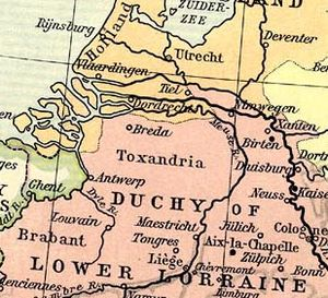 Toxandri - Toxandria in a map of Western Europe (919-1125).