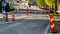 Traffic signs during re-paving of a road in Brastad.jpg
