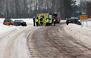 English: Car accident near Dammsjön, Säter Mun...