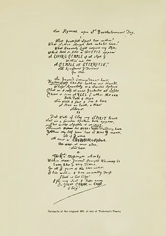 "Thomas Traherne - Facsimile of the manuscript of Thomas Traherne's poem ""An Hymne upon St. Bartholomew's Day"", from Bertram Dobell's 1903 edition of his poetical works"