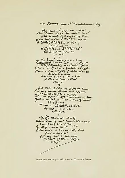 "Facsimile of the manuscript of Thomas Traherne's poem ""An Hymne upon St. Bartholomew's Day"", from Bertram Dobell's 1903 edition of his poetical works Traherne-manuscript.jpg"