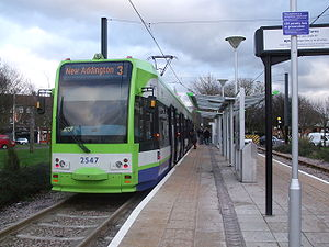 New Addington tram stop - Tram 2547 at New Addington