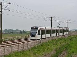 Tram on test approaching Ingliston (geograph 3505893).jpg