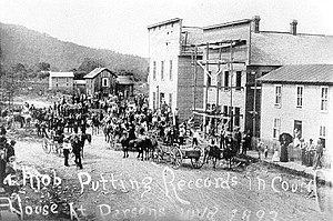 Tucker County Seat War - Vigilantes putting the captured records into the courthouse in Parsons