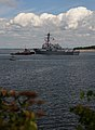 Tugboats guide the USS Jason Dunham into Newport, Rhode Island..jpg