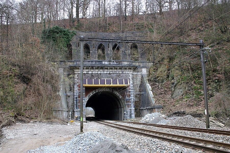 Den Tunnel vu Chaudfontaine am Januar 2008 bei Renovéierungsaarbechten. Kapp Chaudfontaine