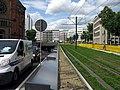 Tunnelausfahrt und Straßenbahngleise auf der Berliner Allee in Düsseldorf.jpg