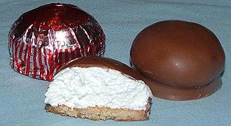 Chocolate-coated marshmallow treats - A Tunnock's teacake from Scotland