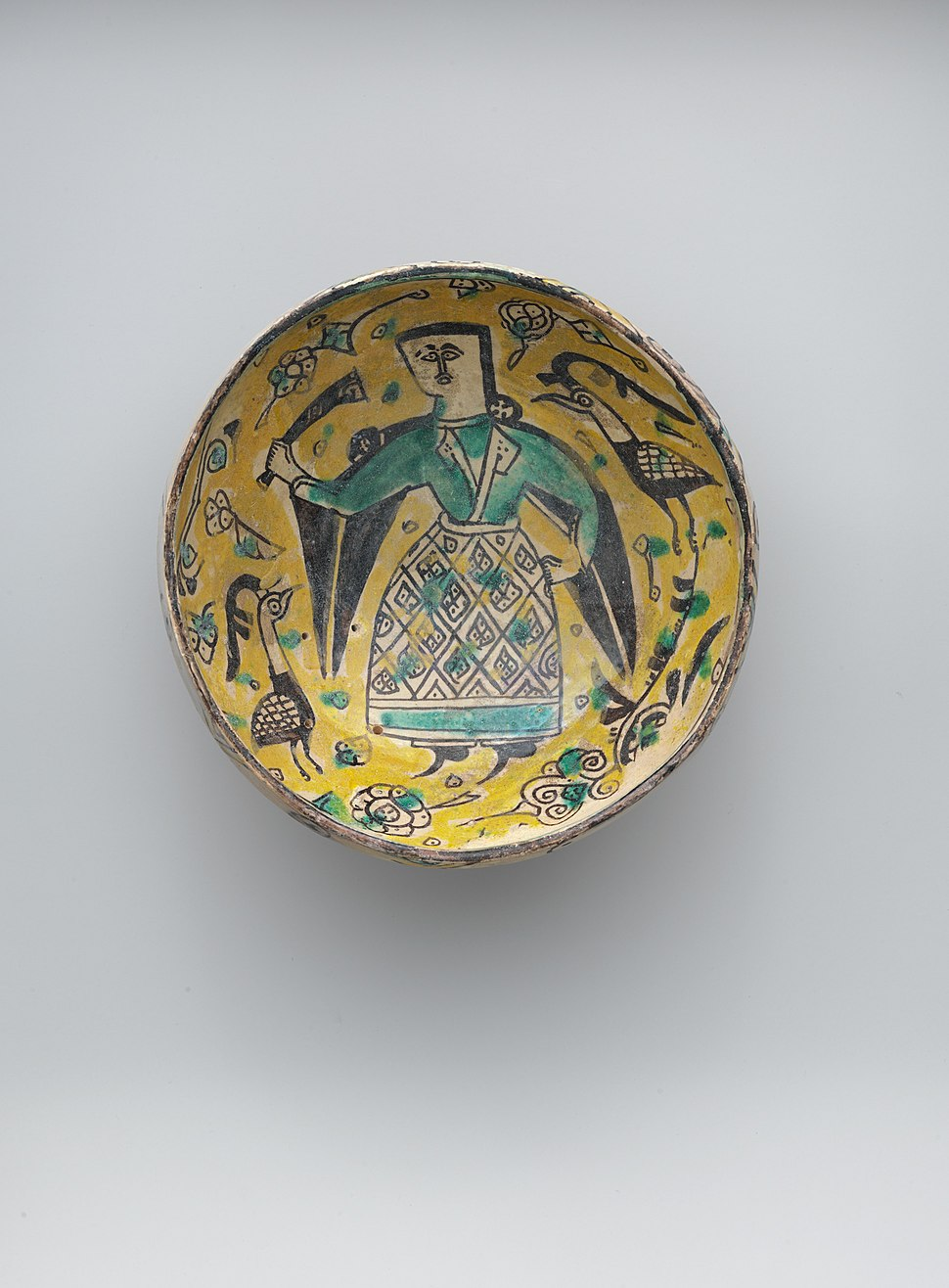 Two Bowls with Figures and a Footed Plate with Birds MET DP258911