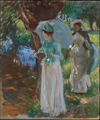 Woman with a Parasol - Madame Monet and Her Son - Image: Two Girls with Parasols at Fladbury by John Singer Sargent 1889