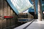 U-Bahn-Wagen der MVG-Baureihe B bei der Einfahrt in den U-Bahnhof St.-Quirin-Platz