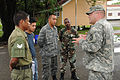 U.S. Army Sgt. Trey Carter, right, a nurse, and combat medic, with 94th Combat Support Hospital goes over after-action review points, with combat medics, from Belize Defence Force, Belize Police, and Belize 100830-A-CL600-113.jpg